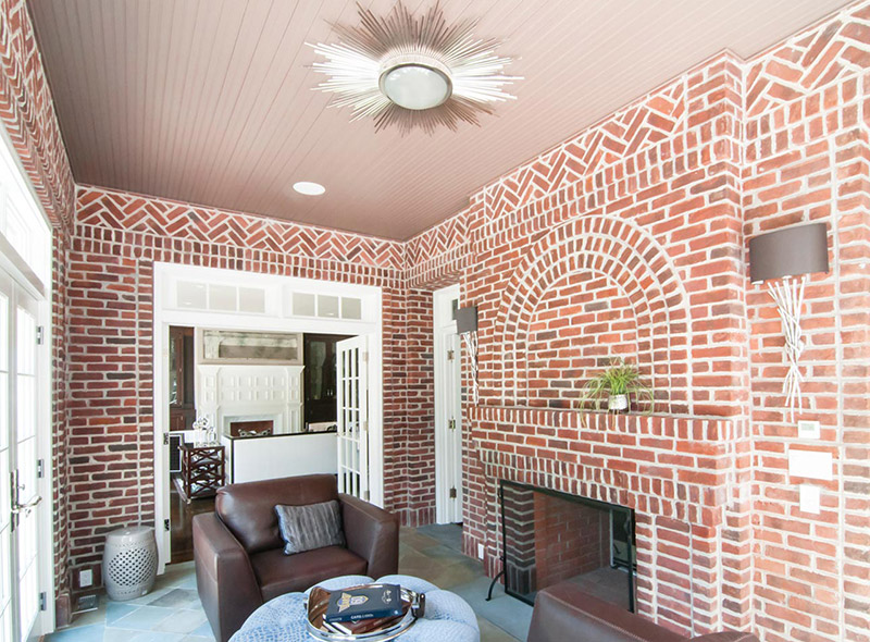 Brick and Slate Sunroom Fireplace Architecture