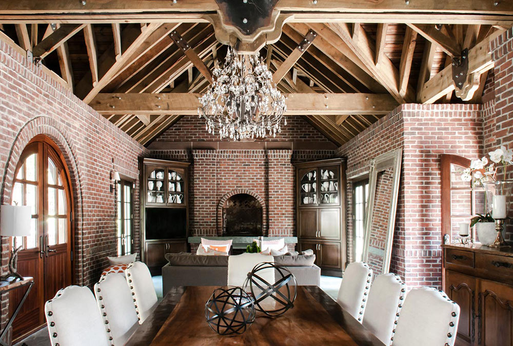 Heavy Timber Brick Tudor Interior Architecture