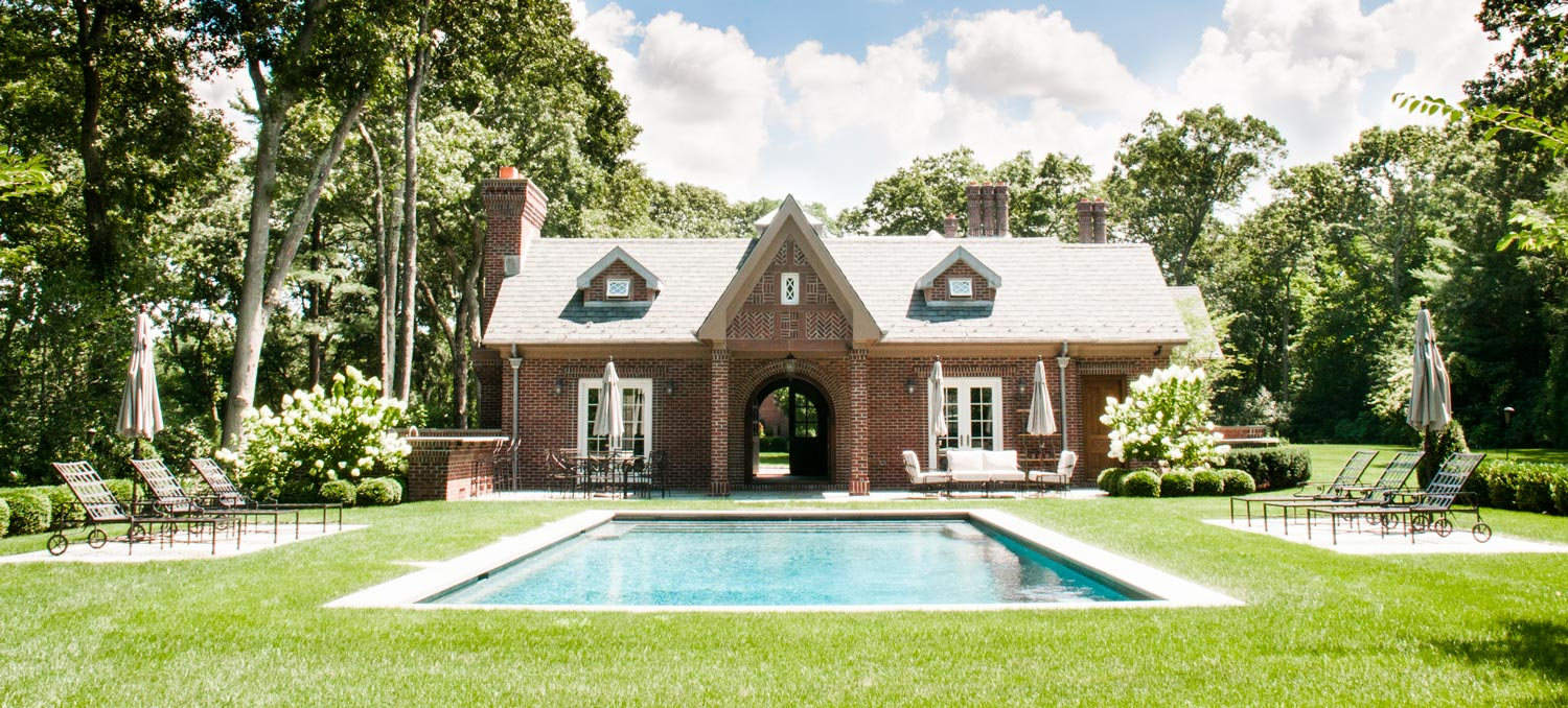 Long Island Brick Tudor Pool Cabana Architecture