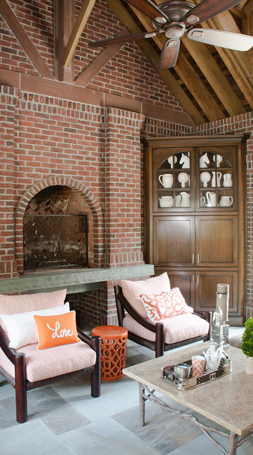 Gold Coast Luxury Interior Brick Fireplace Design