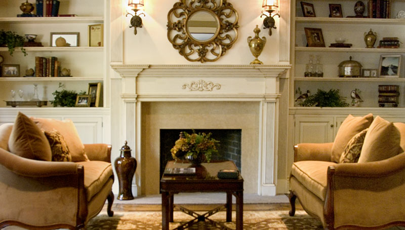 Dark Wood Fireplace Interior Designers Long Island