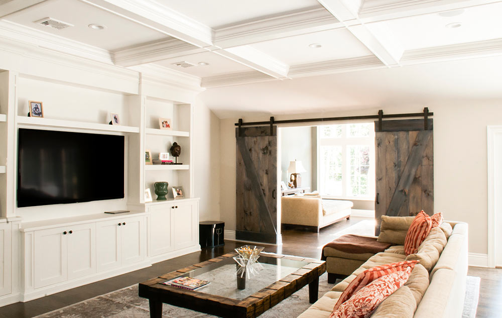 Coffered Ceilings and Reclaimed Barn Door Interior Design