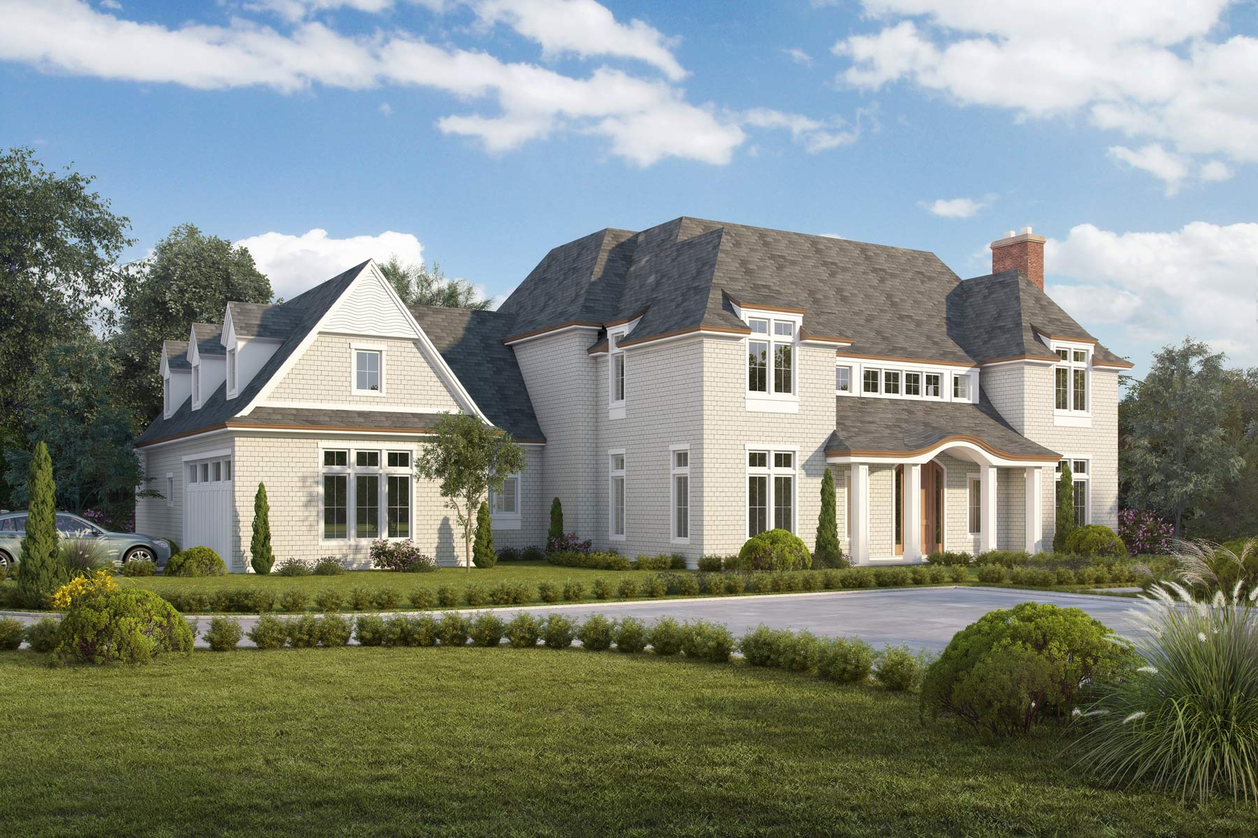 Sands Point NY Shingle Style Home Design Architecture Rendering