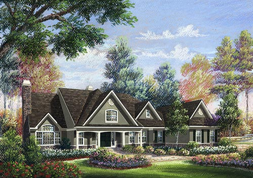 Claccis Architectural sketch of Traditional Long Island Home