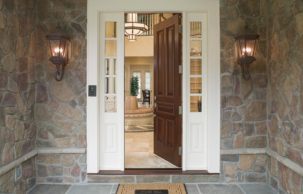 Doorway to Stone Mansion Home at Muttontown Development