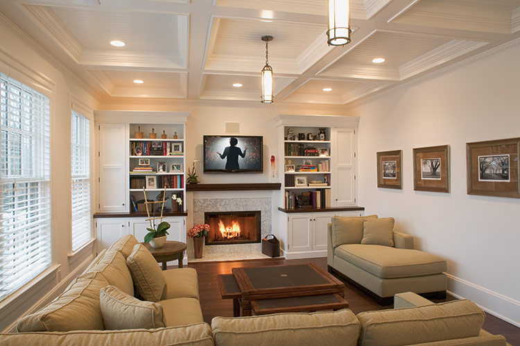 Muttontown NY Interior Design for Coffered Ceiling Family Room