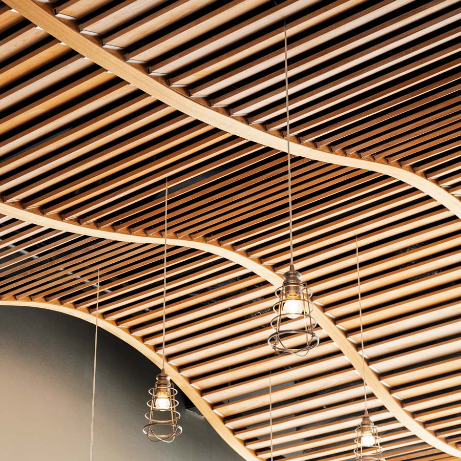 Rolling Wood Ceiling Waves in Long Island Architectural Health Center Renovation
